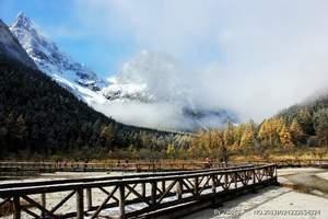 秋天成都去米亚罗毕棚沟 甘堡藏寨泡温泉看红叶2日游价格线路
