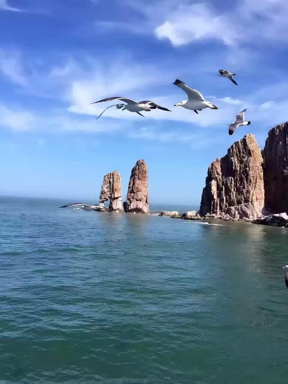 夏天带孩子去海边玩—长岛渔家乐,九丈崖望夫礁半月湾