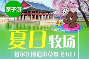 """暑期韩国亲子游线路推荐,青岛到首尔""""夏日牧场""""跟团双飞5日游"""